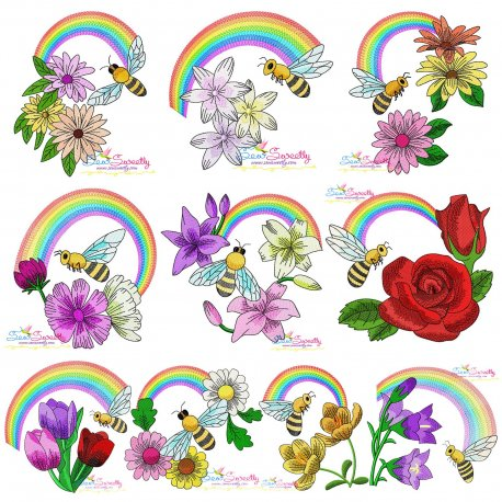 Bee Flowers And Rainbow Embroidery Design Bundle