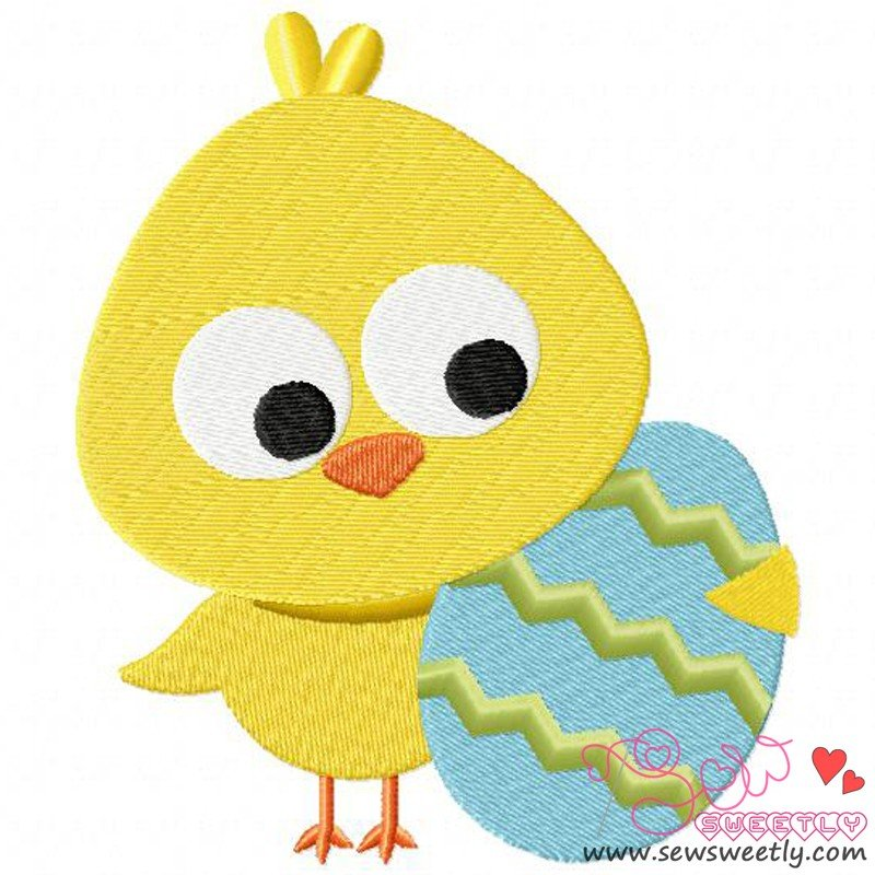 Chick With Egg Machine Embroidery Design