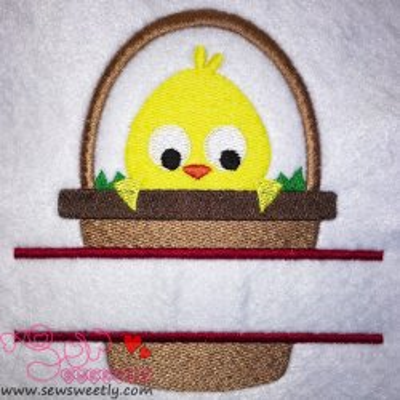 Chick In Basket Split Embroidery Design