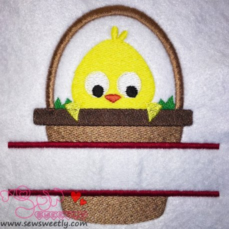 Cute Chick In Basket Split Embroidery Design For Easter And Kids