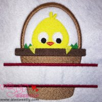 Chick In Basket Split Embroidery Design