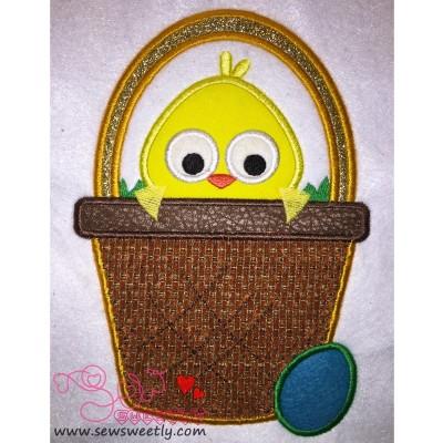 Chick In Basket Applique Design
