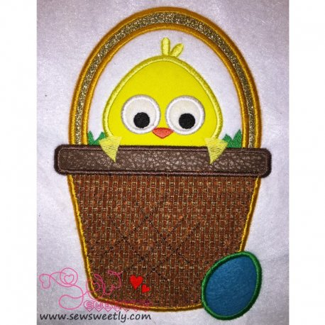 Cute Chick In Basket Machine Applique Design For Easter And Kids