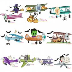 Halloween Aircrafts Embroidery Design Bundle