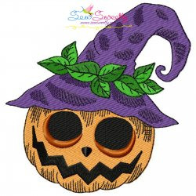 Halloween Pumpkin Hat Embroidery Design Pattern- Category- Halloween Designs- 1