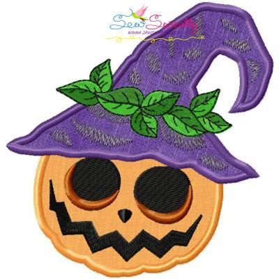 Halloween Pumpkin Hat Applique Design Pattern- Category- Halloween Designs- 1