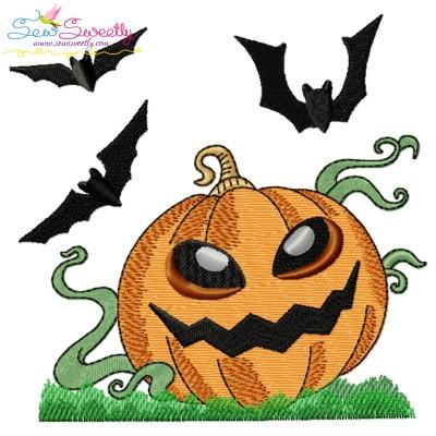 Halloween Pumpkin And Bats Embroidery Design Pattern- Category- Halloween Designs- 1