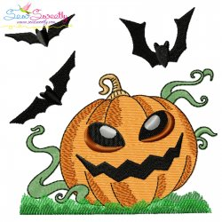 Halloween Pumpkin And Bats Embroidery Design