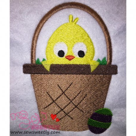 Cute Chick In Basket Embroidery Design For Easter And Kids