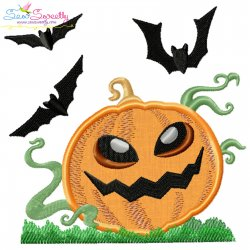 Halloween Pumpkin And Bats Applique Design