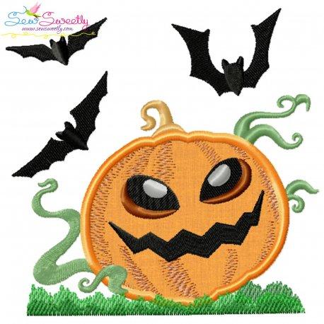 Halloween Pumpkin And Bats Applique Design Pattern- Category- Halloween Designs- 1