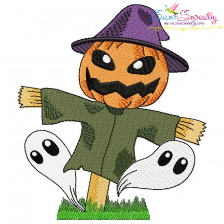 Halloween Pumpkin Scarecrow And Ghosts Embroidery Design