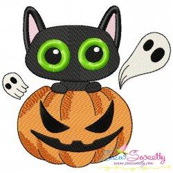 Halloween Pumpkin And Cat Embroidery Design