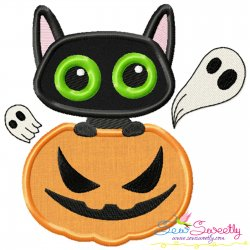Halloween Pumpkin And Cat Applique Design