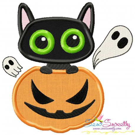 Halloween Pumpkin And Cat Applique Design Pattern- Category- Halloween Designs- 1