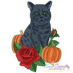 Halloween Cat Flowers And Pumpkin Embroidery Design Pattern- Category- Halloween Designs- 1