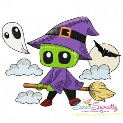 Cute Halloween Witch And Broom Embroidery Design