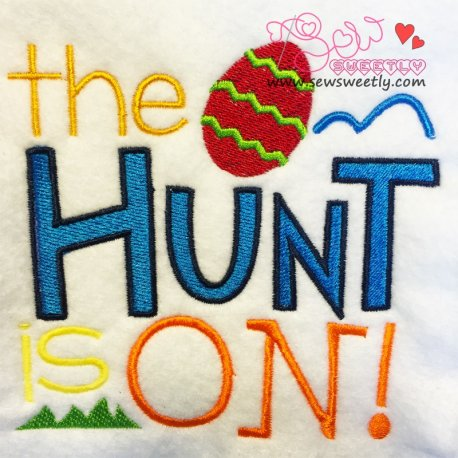 Cute The Hunt Is On Embroidery Design For Easter