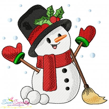 Christmas Snowman Broom Embroidery Design