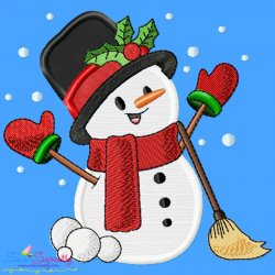Christmas Snowman Broom Applique Design