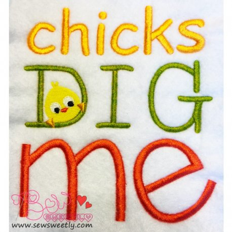Cute Chicks Dig Me Embroidery Design For Easter And Kids