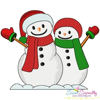 Christmas Snowman Couple Embroidery Design