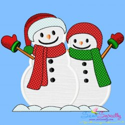 Christmas Snowman Couple Applique Design