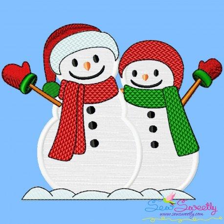 Christmas Snowman Couple Applique Design Pattern- Category- Christmas Designs- 1