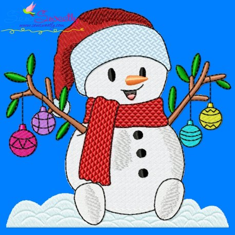 Christmas Snowman Ornaments Embroidery Design Pattern- Category- Christmas Designs- 1