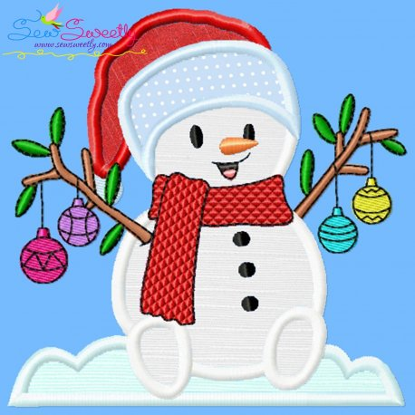 Christmas Snowman Ornaments Applique Design Pattern- Category- Christmas Designs- 1