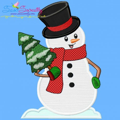 Snowman And Christmas Tree Applique Design Pattern- Category- Christmas Designs- 1