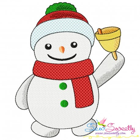 Snowman And Christmas Bell Embroidery Design Pattern- Category- Christmas Designs- 1