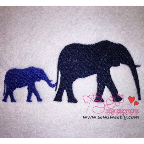 Cute Elephant Mom And Baby Embroidery Design