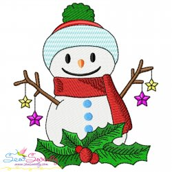 Christmas Snowman And Holly Leaves Embroidery Design