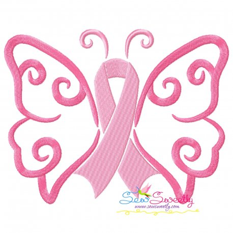 Breast Cancer Awareness Butterfly Embroidery Design
