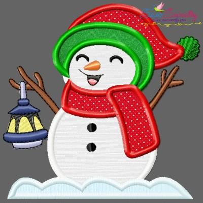 Christmas Snowman Lantern Applique Design Pattern- Category- Christmas Designs- 1