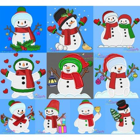 Christmas Snowman Applique Design Bundle Pattern- Category- Christmas Designs- 1
