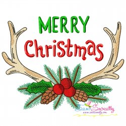 Merry Christmas Antlers Lettering Embroidery Design
