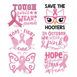 Breast Cancer Awareness Embroidery Design Bundle