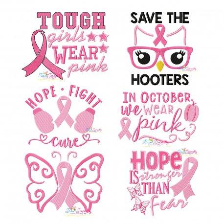 Breast Cancer Awareness Embroidery Design Bundle