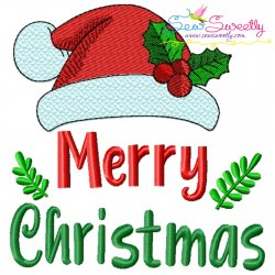 Merry Christmas Santa Hat Lettering Embroidery Design