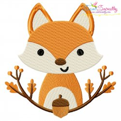 Fall Fox With Branches Embroidery Design Pattern- Category- Fall And Thanksgiving- 1