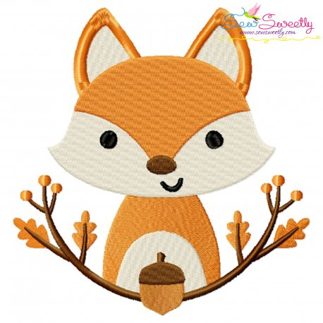 Free Fall Fox With Branches Embroidery Design- Category- Fall And Thanksgiving- 1