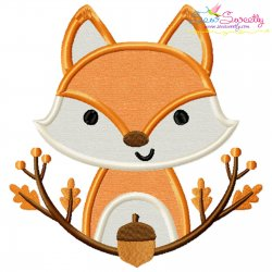 Fall Fox With Branches Applique Design Pattern- Category- Fall And Thanksgiving- 1