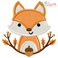Fall Fox With Branches Applique Design