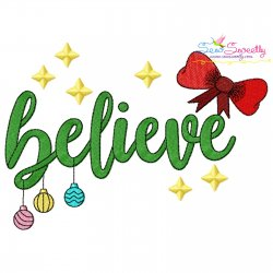 Believe Christmas Lettering Embroidery Design