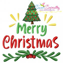 Merry Christmas Tree Lettering Embroidery Design