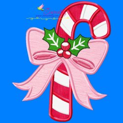 Candy Cane Bow-2 Applique Design