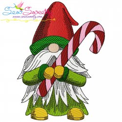 Christmas Gnome With Candy Cane Embroidery Design