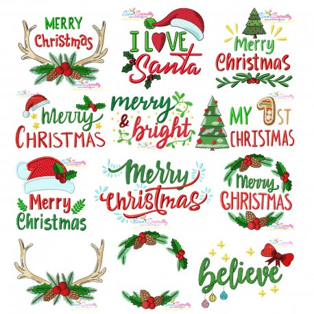 Christmas Lettering Embroidery Design Bundle-2